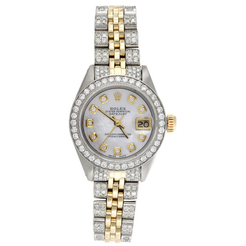 Womens Rolex Diamond Watch MOP Dial 6917 DateJust Two Tone Jubilee Band 2.60 CT.