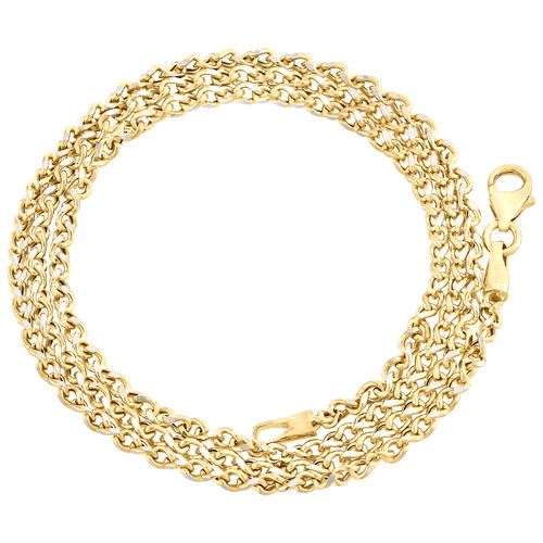 10K Yellow Gold 2mm Twisted Curb Chain Fancy Necklace Lobster Lock 16-24 Inches
