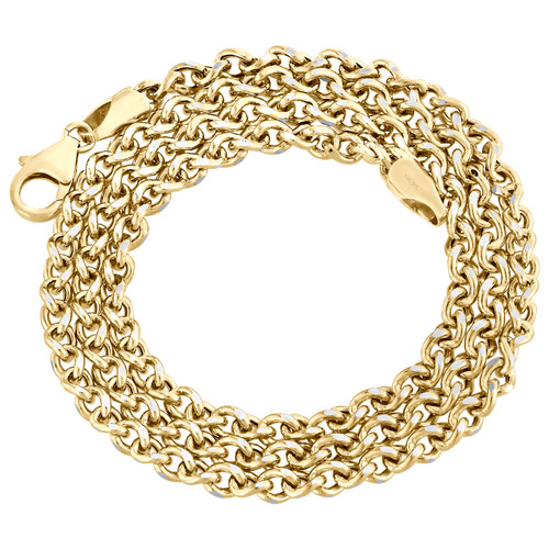 10K Yellow Gold 3.60mm Twisted Curb Chain Fancy Necklace Lobster Lock 18-24 Inch