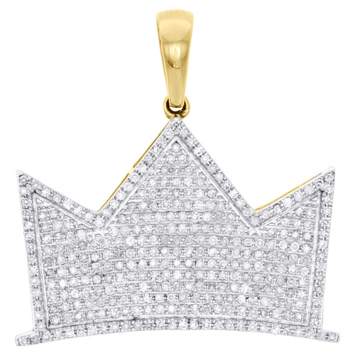 "10K Yellow Gold Diamond King Crown Royalty Hat Pendant 1"" Pave Charm 0.71 CT."
