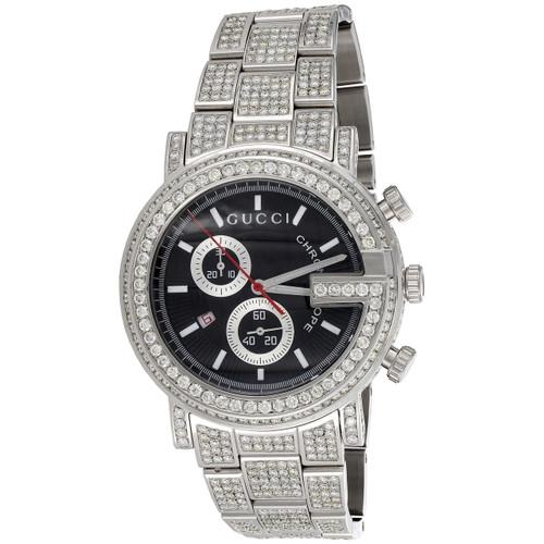 Mens Ya101309 Custom Diamond Gucci G-Watch Black Dial 44mm Chronograph 16.50 CT.