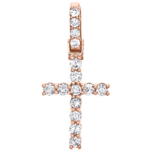 10K Rose Gold Prong Set 1 Row Solitaire Diamond Cross Pendant Charm 0.92 CT.