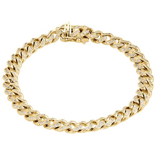 "10K Yellow Gold 8mm Solid Miami Cuban Box Clasp Simulated Diamond Bracelet 8.50"""