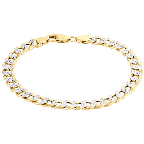 14K Yellow Gold Hollow Diamond Cut 6.50mm Curb / Cuban Link Bracelet 8 - 9 Inch
