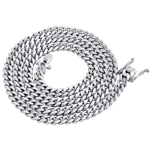 10K White Gold 6.50mm Solid Miami Cuban Link Necklace Box Clasp Chain 24 Inch