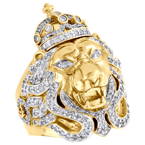 10K Yellow Gold Mens Diamond Lion Crown King Pinky Ring Solid 39mm Band 1.75 CT.