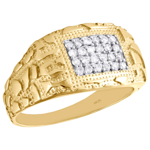 10K Yellow Gold Mens Round Diamond Nugget Ore Pinky Ring Statement Band 1/3 CT.