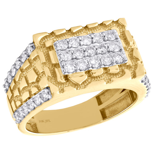 10K Yellow Gold Mens Diamond Rectangle Nugget Pinky Ring Statement Band 1.02 CT.