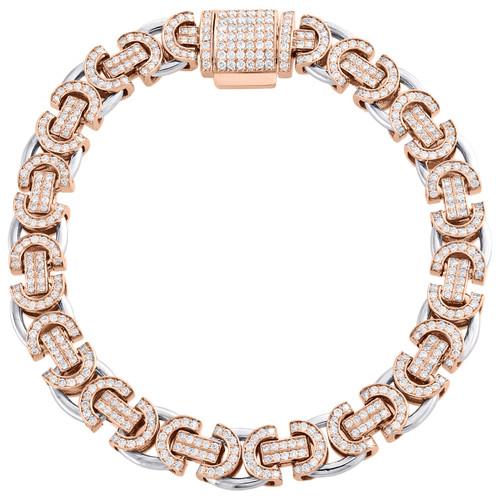 10K Rose / White Gold Diamond Byzantine Link 9.50mm Bracelet Box Clasp 4.80 CT.