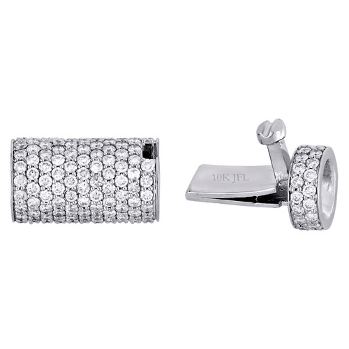 Solid 10K White Gold 3D Rope Link Chain / Bracelet 6mm Diamond Box Clasp 2.60 CT