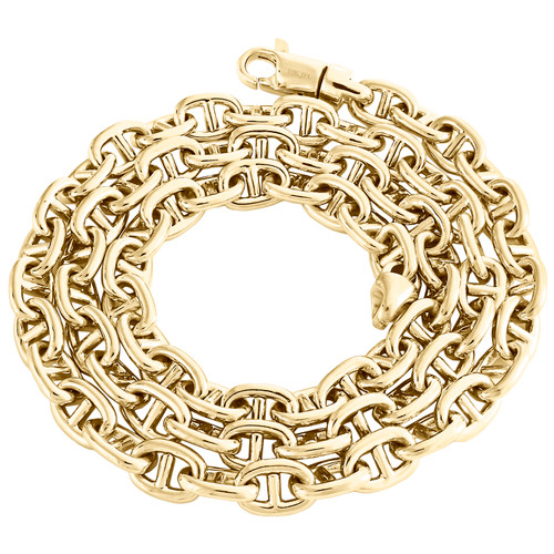10K Yellow Gold 8.10mm Solid Italian Anchor Link Chain Handmade Necklace 24""