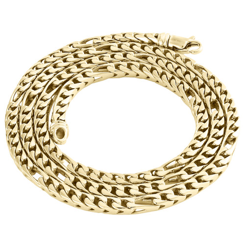 """10K Yellow Gold 4.10mm Solid Figaro Franco Link Chain Italian Made Necklace 24"""""""