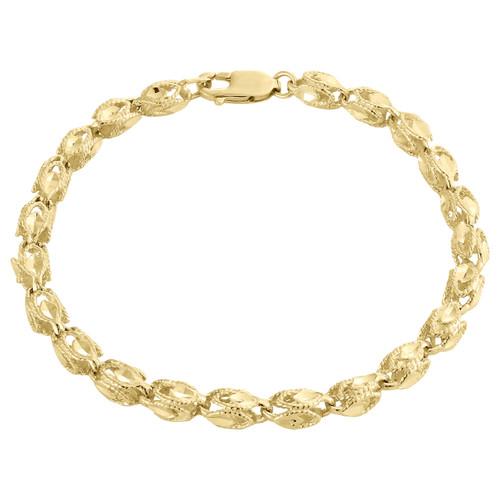 10K Yellow Gold 5.25mm 3D Turkish Rope Link Milgrain Diamond Cut Bracelet 8 Inch