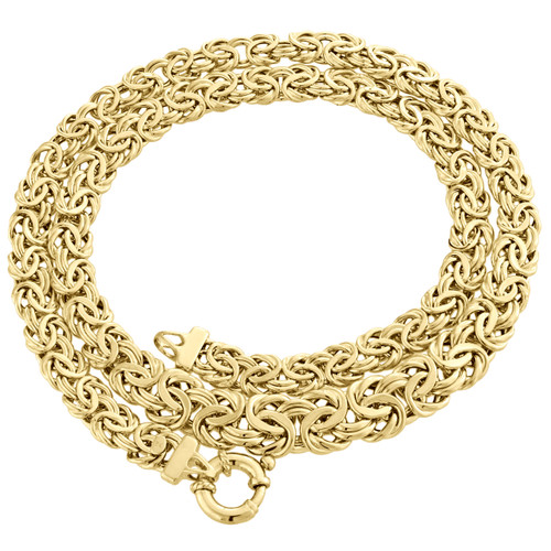 14K Yellow Gold 10mm Twisted Interlink Byzantine Fancy Link Chain / Necklace 18""