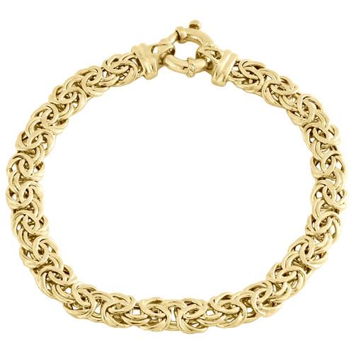 """14K Yellow Gold 7mm Twisted Interlink Byzantine Fancy Link Italian Bracelet 8"""""""