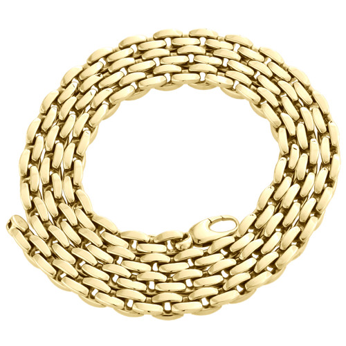 14K Yellow Gold 5mm Closed Link Oval Rolo Italian Fancy Link Chain Necklace 24""
