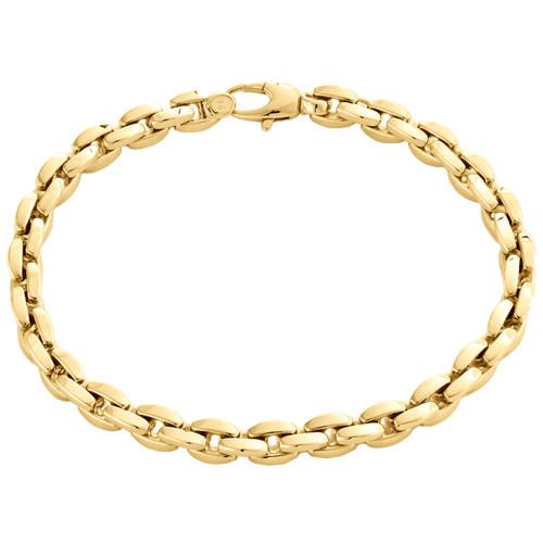 """14K Yellow Gold 5mm Closed Link Oval Rolo Link Italian Made Fancy Bracelet 8.50"""""""