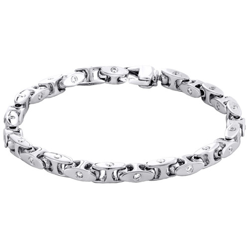 """10K White Gold 5.75mm Diamond Oval Link 3D Bracelet 8.50"""" Bezel Set  2.66 CT."""