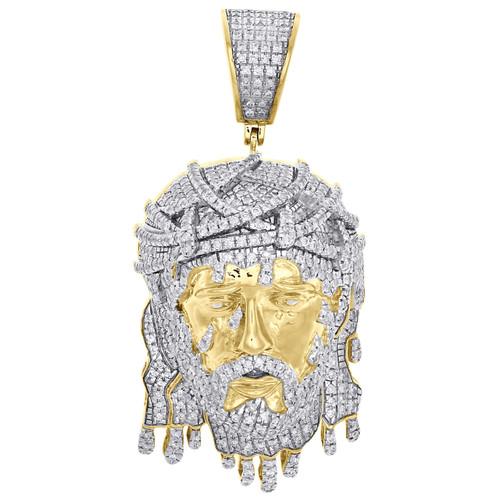 "10K Yellow Gold Mens Diamond Jesus Face Pendant 2.30"" Drip Piece Charm 2.75 CT."