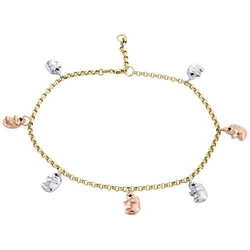 """10K Multi Tone Gold 2.50mm Roloe Link Elephant Anklet / Bracelet Extension 10"""""""