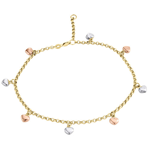 """10K Rose White Yellow Gold 2.50mm Rolo Link Puff Heart Charm Anklet Bracelet 10"""""""