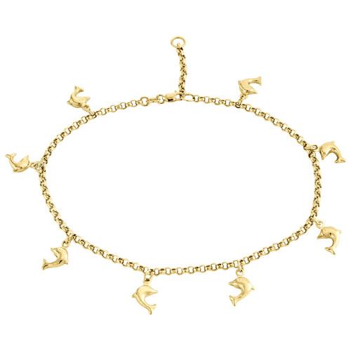 """10K Yellow Gold 2.50mm Rolo Link Dolphin Charm Anklet / Bracelet Extension 10"""""""