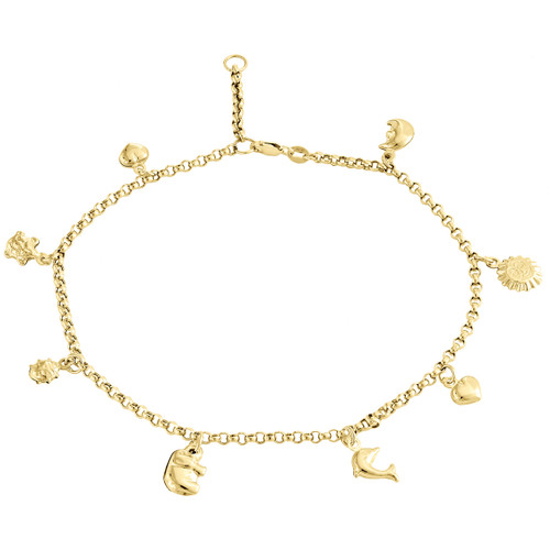 """10K Yellow Gold 2.50mm Rolo Link Turtle Moon Elephant Heart Sun Charm Anklet 10"""""""