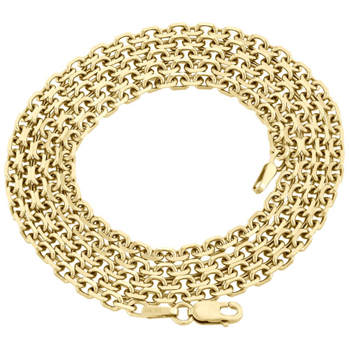 10K Yellow Gold 2.75mm Rectangle Square Oval Rolo Fancy Link Chain Necklace 26""