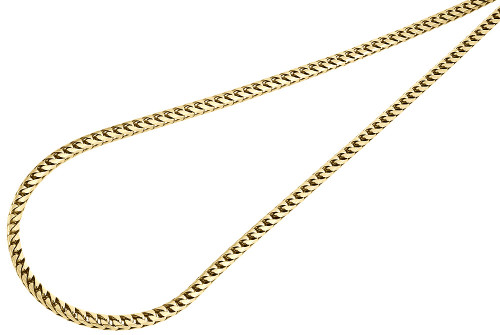 10K Yellow Gold Closed Link Solid Franco Box Chain 3mm Necklace 22 - 30 Inches