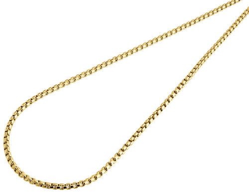 10K Real Yellow Gold Mens / Ladies 2.50 MM Round Box Chain Necklace 22 - 36 Inch