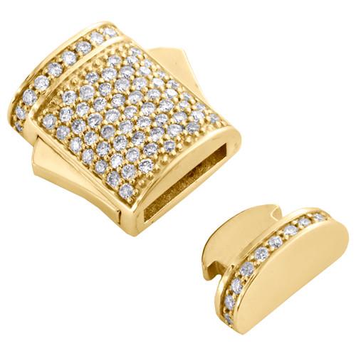 10K Yellow Gold Miami Cuban Chain / Bracelet 9mm Diamond Box Clasp Lock 1/2 CT.