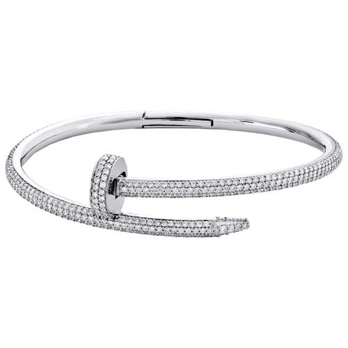 14K White Gold Round Diamond Nail Bangle 21CM Pave Eternity Bracelet 5.11 CT.