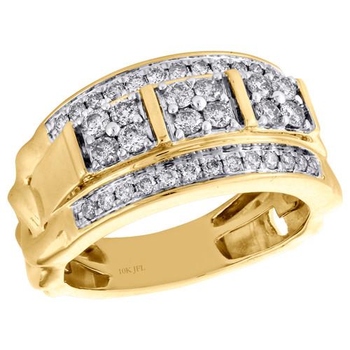 10K Yellow Gold Round Diamond Domed Mens Statement Pinky Ring Wedding Band 1 CT.