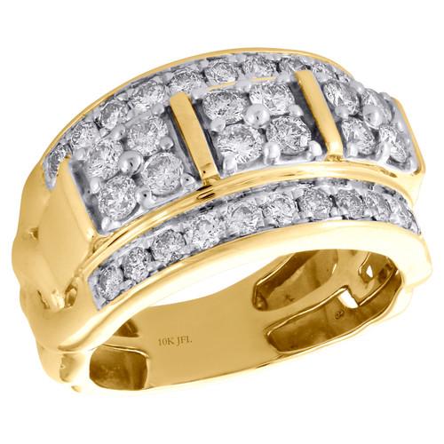 10K Yellow Gold Round Diamond Domed Mens Statement Pinky Ring Wedding Band 2 CT.