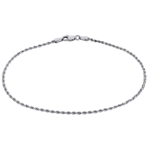 10K White Gold 1.65mm Diamond Cut Solid Rope Link Bracelet / Anklet 7-10 Inches