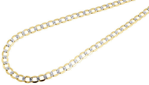 Mens 10k Yellow Gold Diamond Cut Curb Cuban Chain Necklace 4.50 mm 16-30 Inches