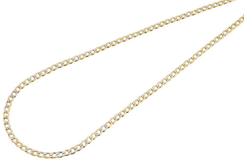 10k Yellow Gold Diamond Cut Hollow Pave Cuban Chain 2.40mm Necklace 16 - 26 Inch