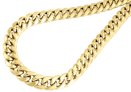 10K Yellow Gold Semi Hollow 11 MM Miami Cuban Link Necklace Chain 30 - 38 inch