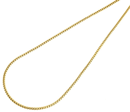 10K Real Yellow Gold Mens / Ladies 1.5 MM Round Box Chain Necklace 18 - 36 Inch