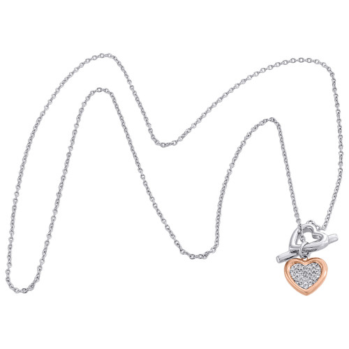 ".925 Sterling Silver Rose Tone Diamond Double Heart Toggle Necklace 18"" 0.10 CT."