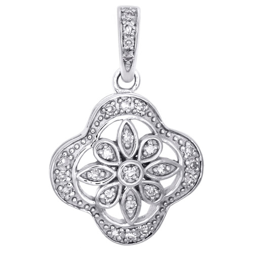 ".925 Sterling Silver Diamond Flower in Frame Pendant 0.75"" Charm 0.10 CT."