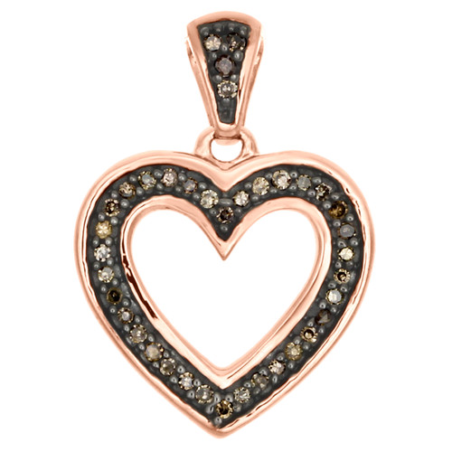"10K Rose Gold Brown Diamond Cut Out Heart Pendant 0.70"" Long Charm 0.10 CT."
