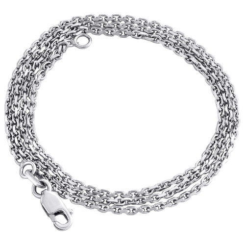 14K White Gold 1.50mm Fancy Oval Chain Rolo Necklace Lobster Clasp 16 - 24 Inch
