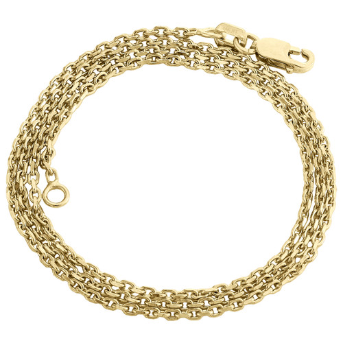 14K Yellow Gold 1.50mm Fancy Oval Chain Rolo Necklace Lobster Clasp 16 - 24 Inch