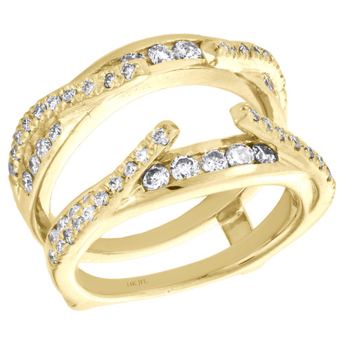 14K Yellow Gold Round Diamond Cathedral Style Engagement Ring Wrap Enhancer 1 CT