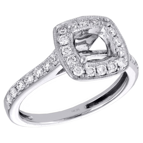 14K White Gold Round Diamond Semi Mount Ladies Halo Engagement Ring 0.50 CT.