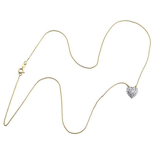 """10K Yellow Gold Cluster Diamond Domed Heart Pendant Necklace 18"""" Chain 0.50 CT."""