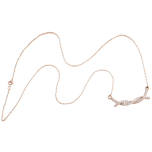 "10K Rose Gold Round Diamond Braided Infinity Necklace 20"" Cable Chain 0.50 CT."