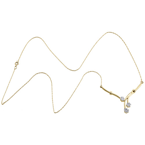 """14K Yellow Gold Cluster Diamond Triple Flower 'V' Necklace 20"""" Chain 0.25 CT."""