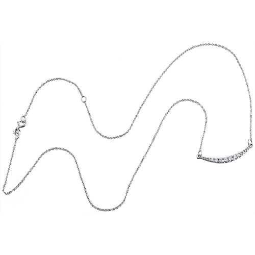 """10K White Gold Graduated Diamond Curved Bar Necklace 19"""" Cable Chain 0.25 CT."""